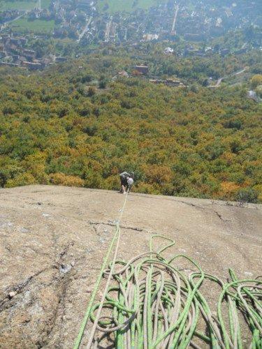 Rocca Penna Borgone arrampicare in inverno