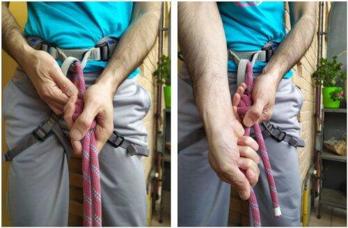 Stingere il nodo delle guide con frizione